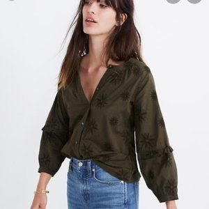 Madewell Olive Green Embroidered Puff Sleeve Shirt